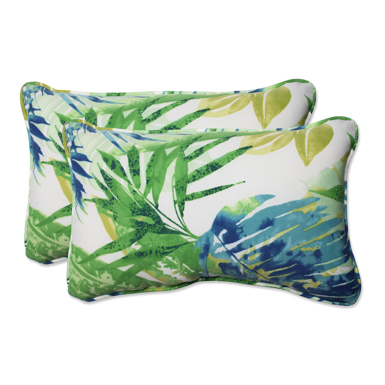 Set Of 2 Blue Green Caribbean Forest Outdoor Corded Throw Pillows
