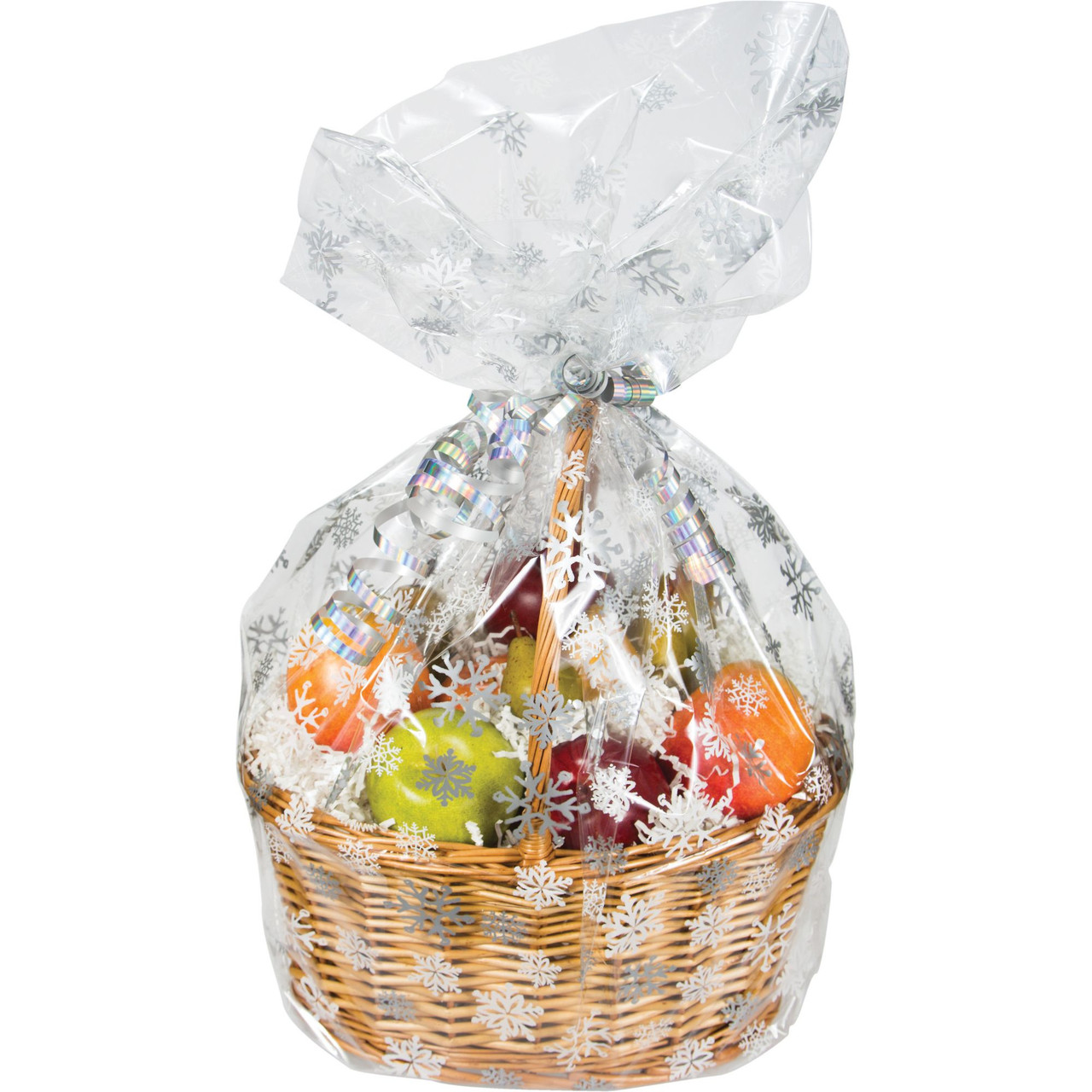 Pack Of 12 Clear Large Snowflake Christmas Cellophane Gift Basket Bags 24 31008786
