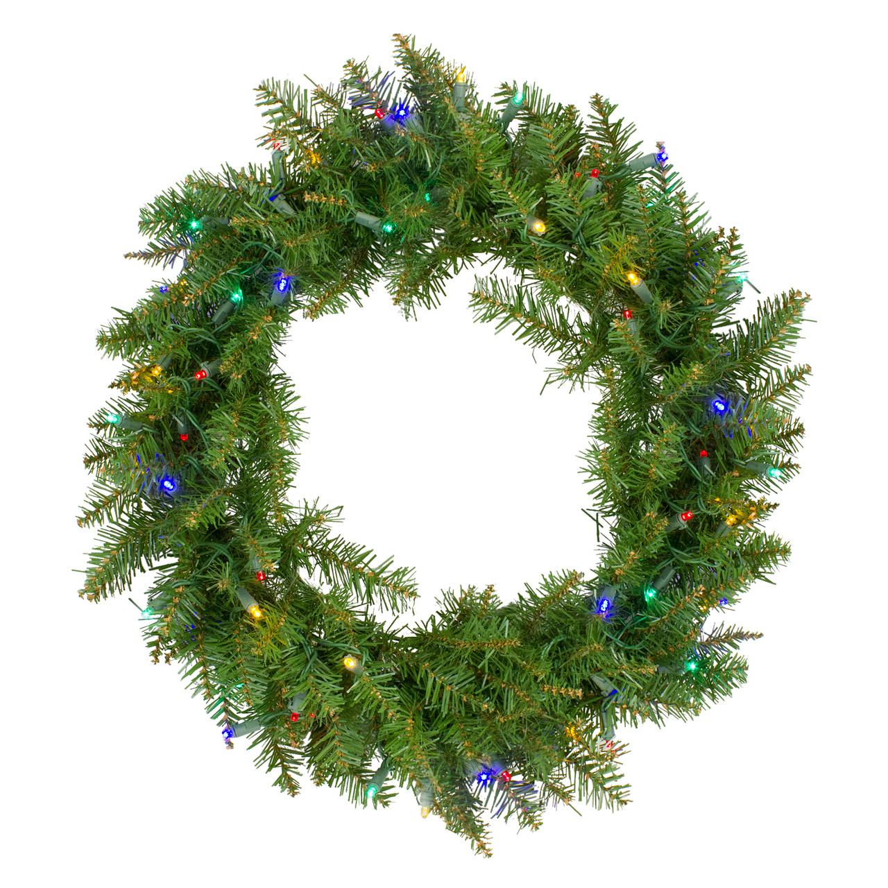 24 Pre Lit Northern Pine Artificial Christmas Wreath W Multi Color Led Lights Christmas Central