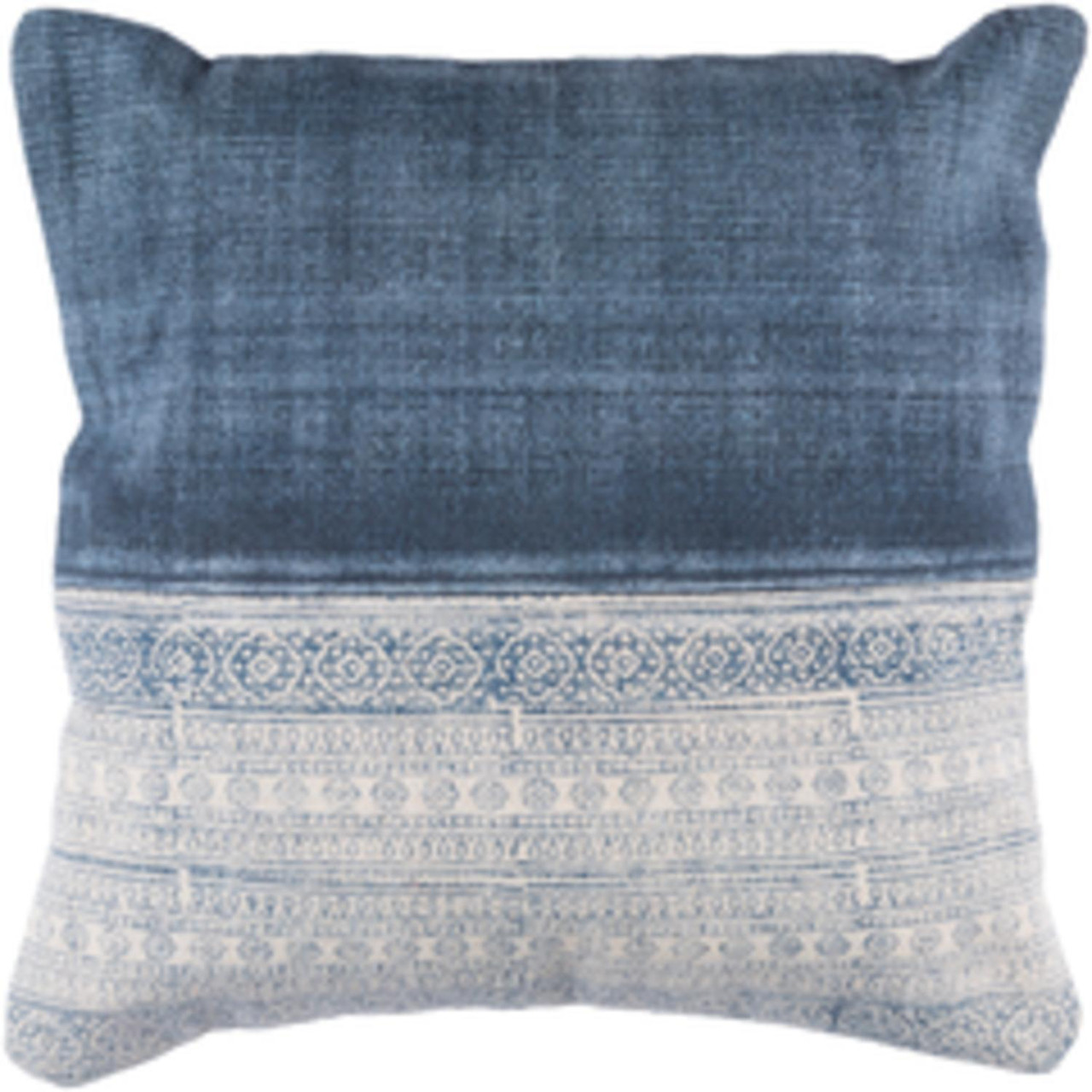 """20"""" Latte Brown and Denim Blue Contemporary Decorative Throw Pillow-Down  Filler - 31502873"""