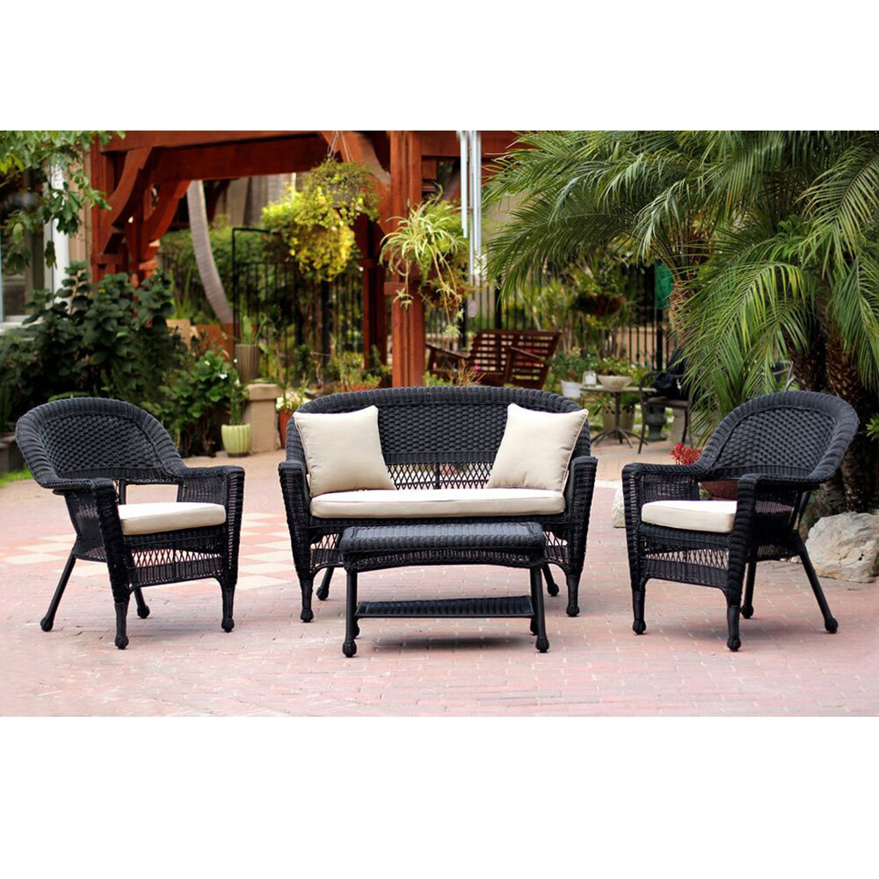 4 piece black wicker patio chair loveseat table furniture set rh christmascentral com black wicker patio furniture target black wicker sectional patio furniture