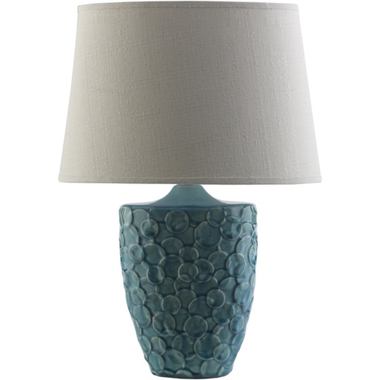 19 75 Contemporary Teal Ceramic Table Lamp With Bell Shaped Shade