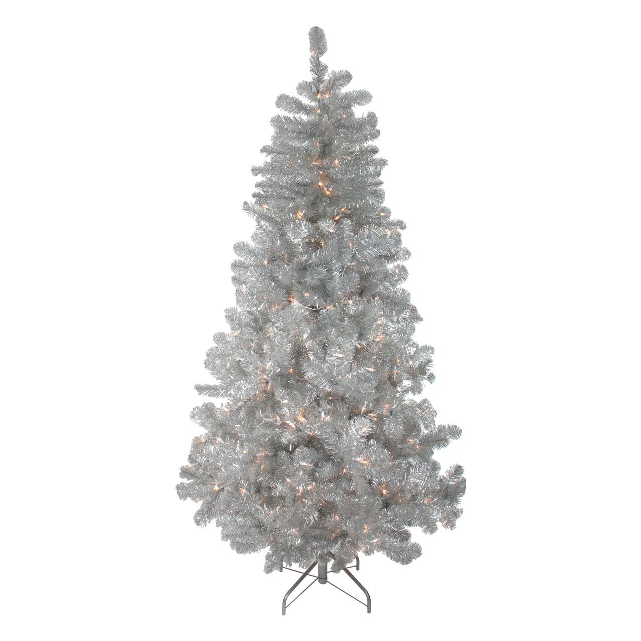 7.5' Pre-Lit Silver Metallic Artificial Tinsel Christmas ...