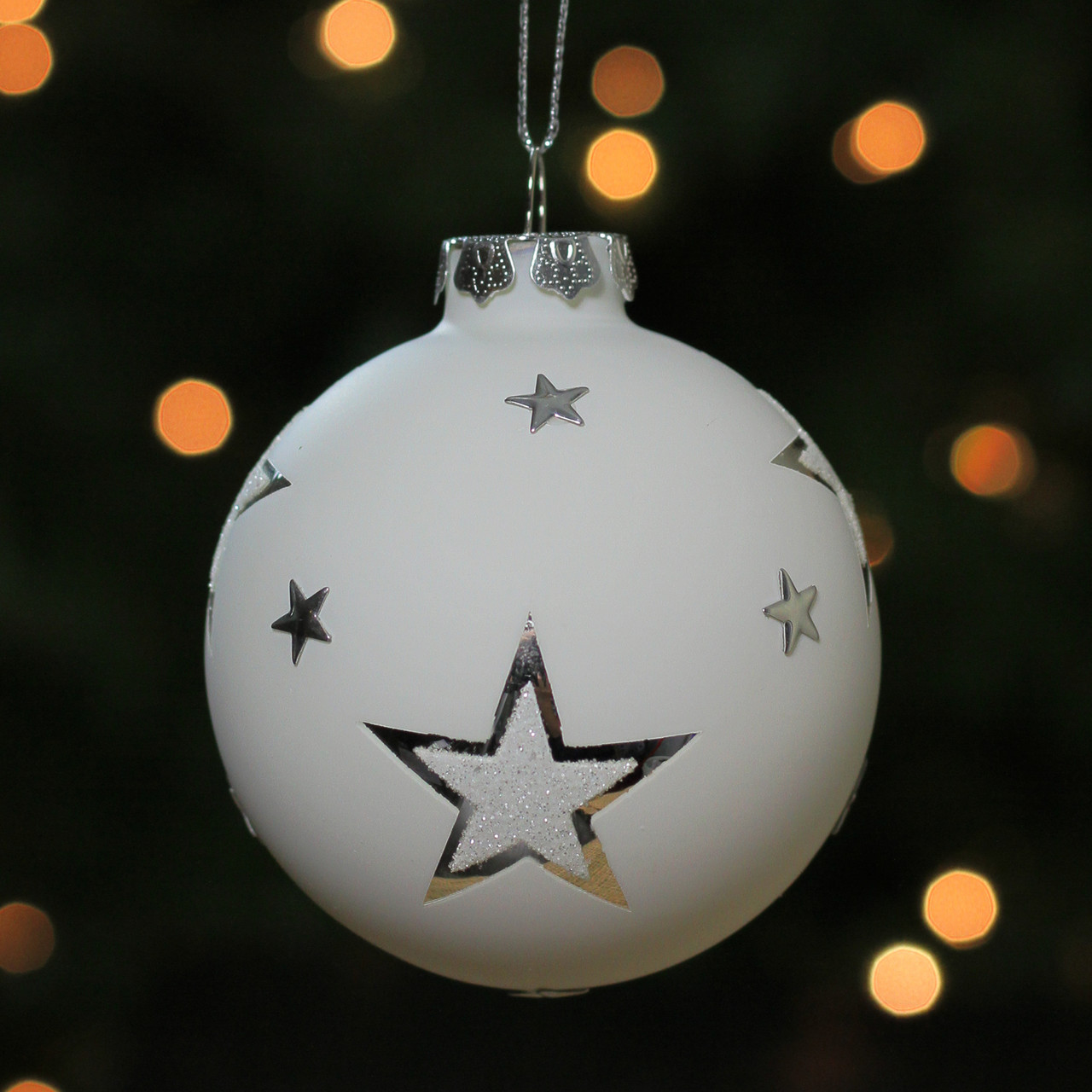 3 25 White And Silver Star Glass Ball Christmas Ornament 32621870