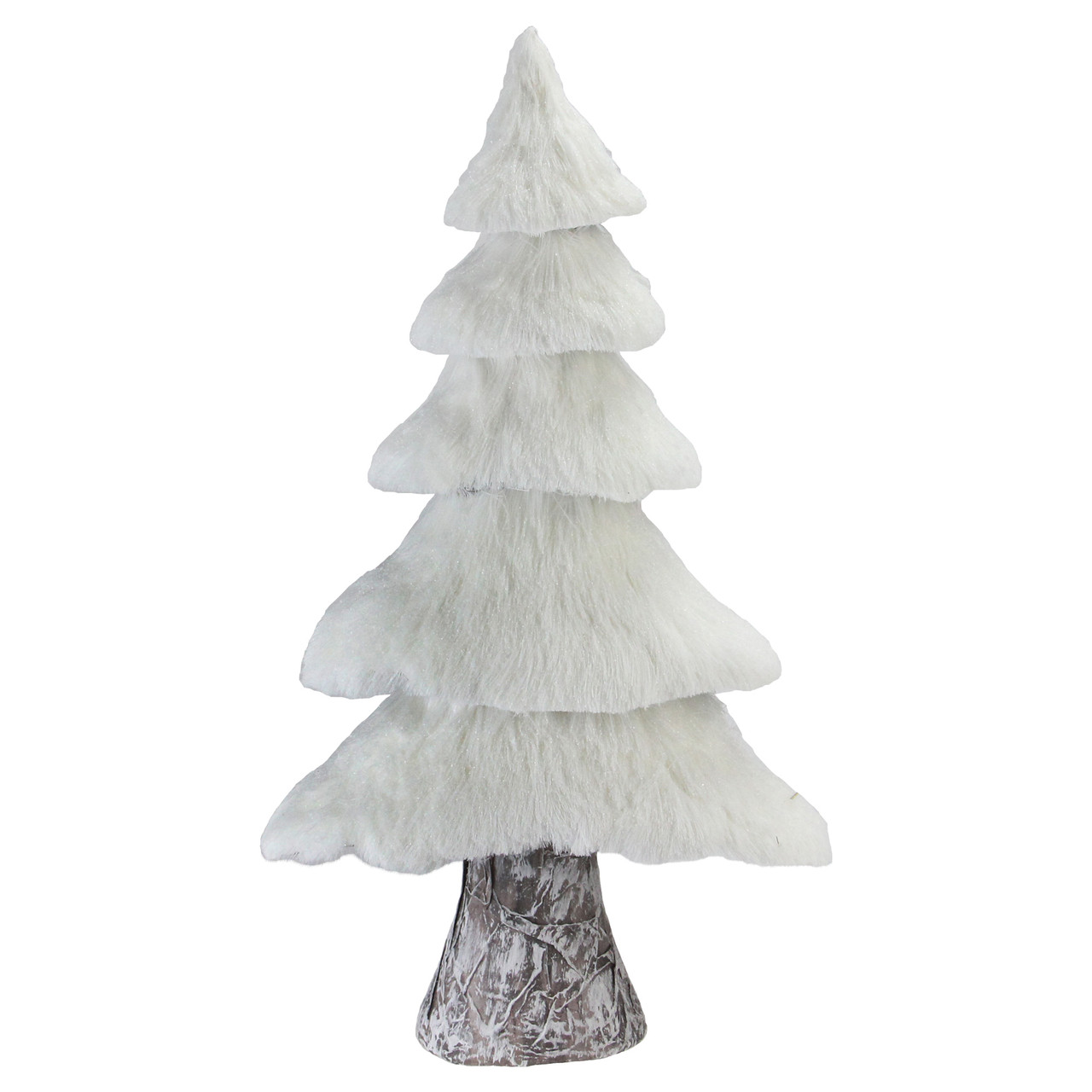 17 3 White Rustic Birch Faux Fur Tree With Snow Canopy Tabletop Christmas Decor Christmas Central