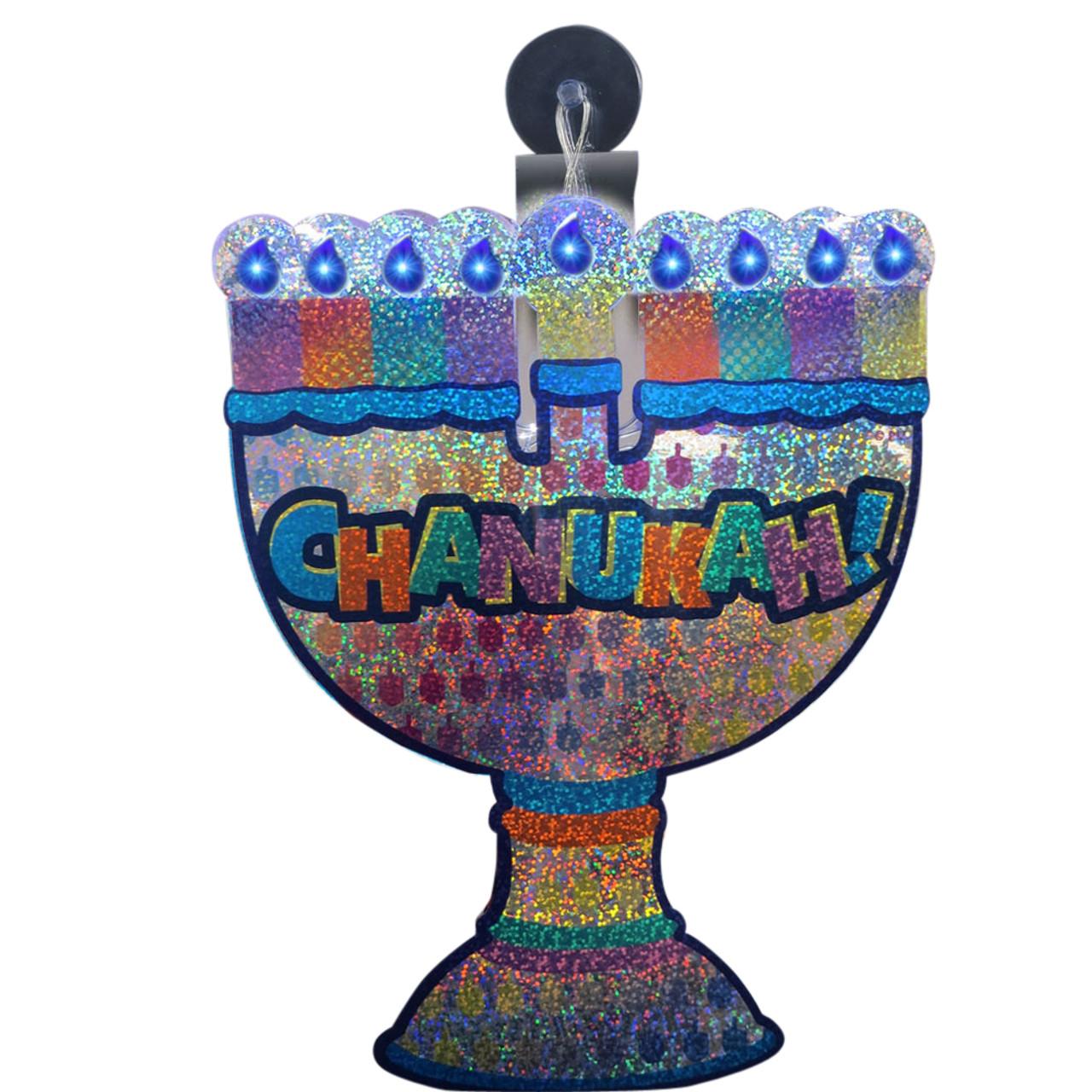 Batteries Included Chanukah Super Bright LED Menorah Window Gel Cling