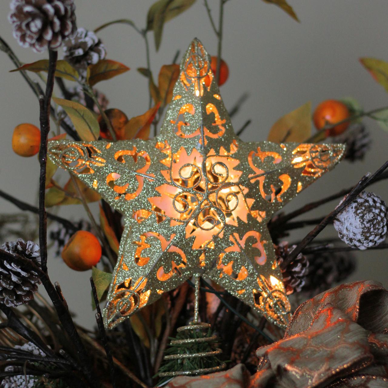 "11"" Lighted Gold Swirl Glittered Christmas Star Tree ..."