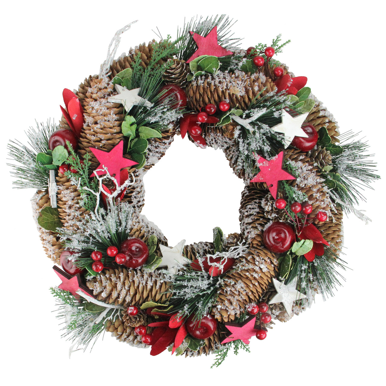 1325 Berries Apples Stars Pine Cones Frosted Christmas Wreath