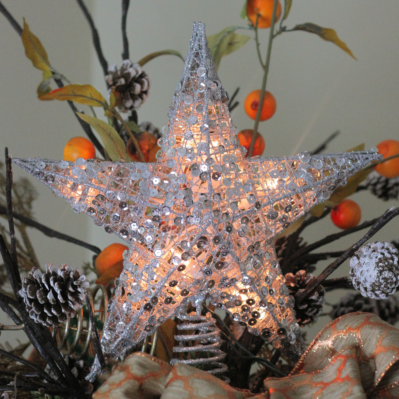12 Lighted Glittering Silver Star Christmas Tree Topper Clear Lights 32628058