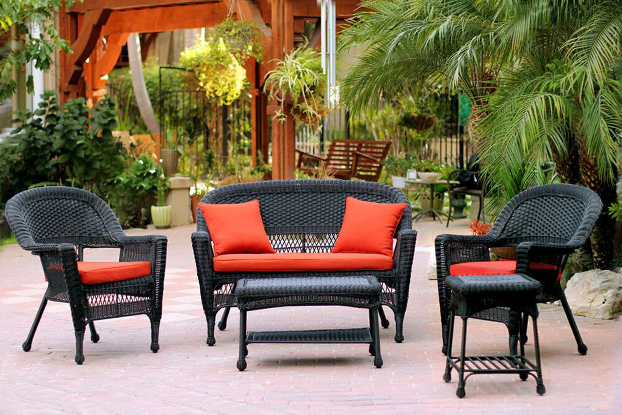 5 Piece Black Resin Wicker Patio Chair Loveseat Table Furniture