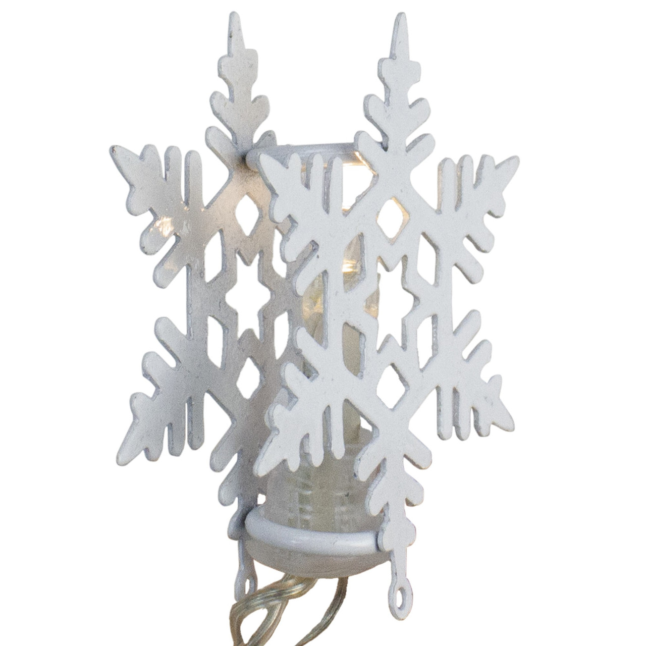 8 Battery Operated White Led Snowflake With Cap Christmas Lights Clear Wire 32606788