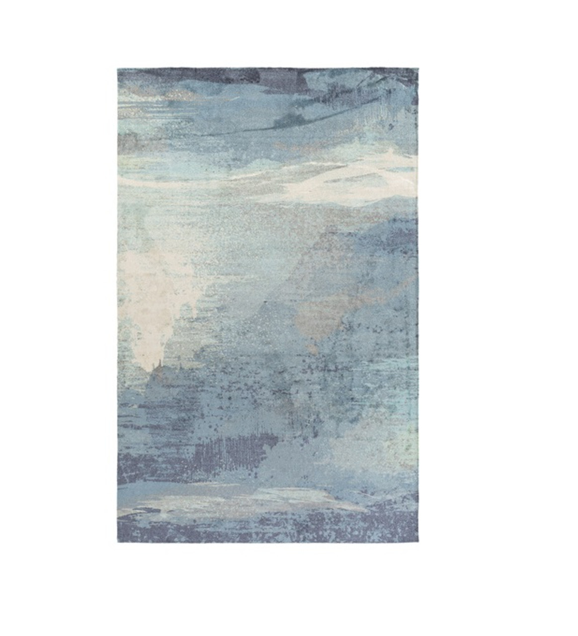 2 X 3 Lulled Watercolor Stormy Blue Steely Gray Cream Beige Area Throw Rug Christmas Central