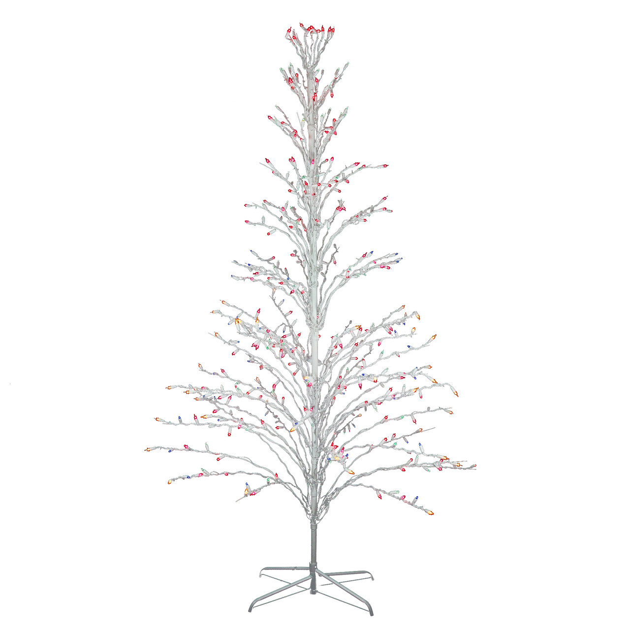6/' LIGHTED OUTDOOR CASCADE METAL TWIG CHRISTMAS TREE WHITE CLEAR LIGHTS NEW