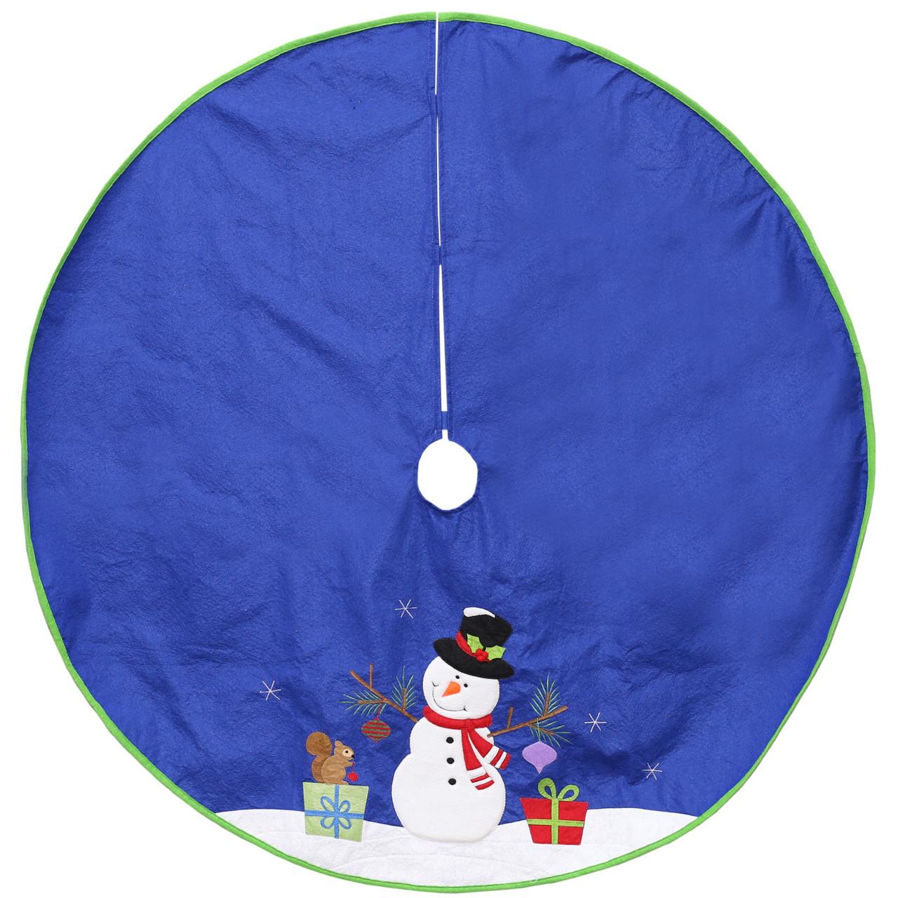 48 Blue Felt Christmas Snowman Winter Tree Skirt With Bright Green Trim 32634004