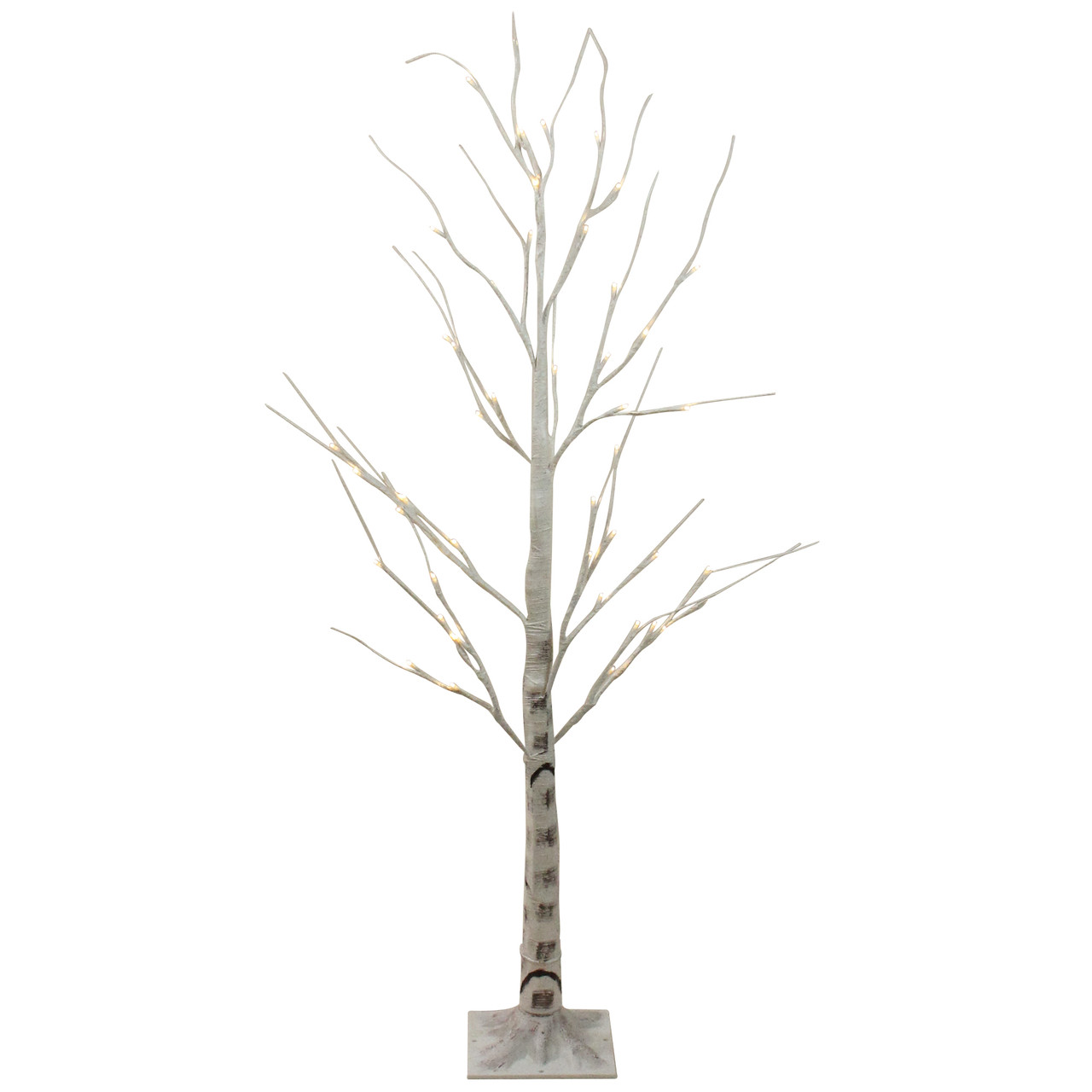 4 Pre Lit Led White Birch Tree Outdoor Decoration White Lights Christmas Central