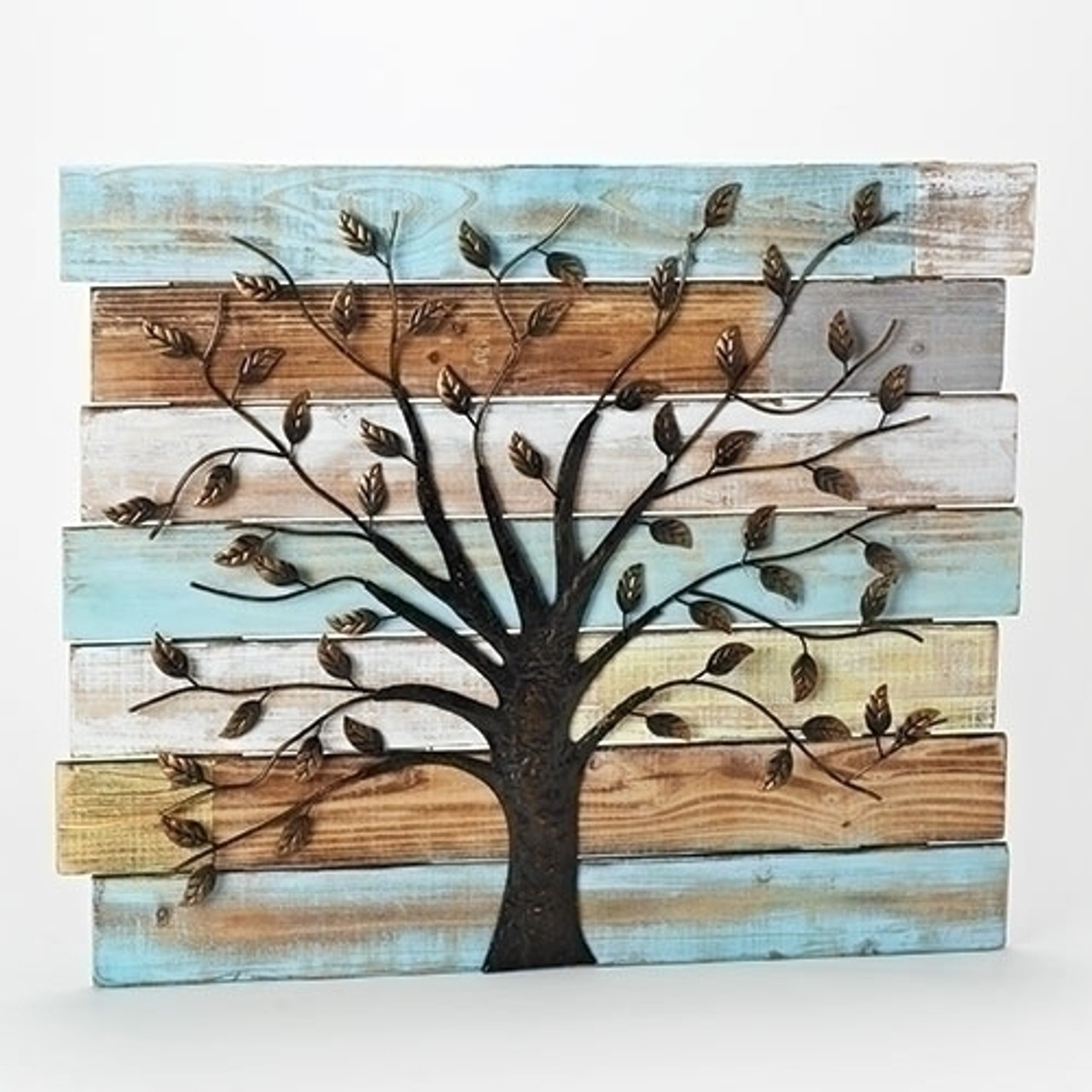 Set Of 2 Distressed Wooden Panel Wall Decor With Iron Tree 23 5 32628040