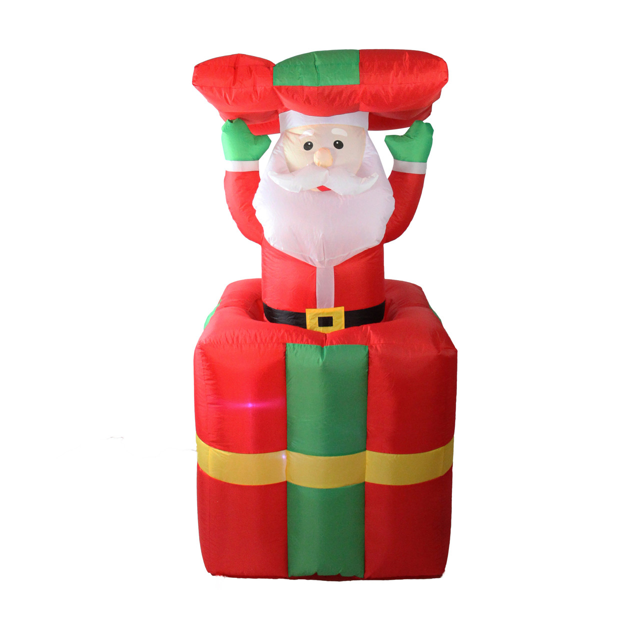 5 Lighted Inflatable Pop Up Santa Claus In Gift Box Christmas