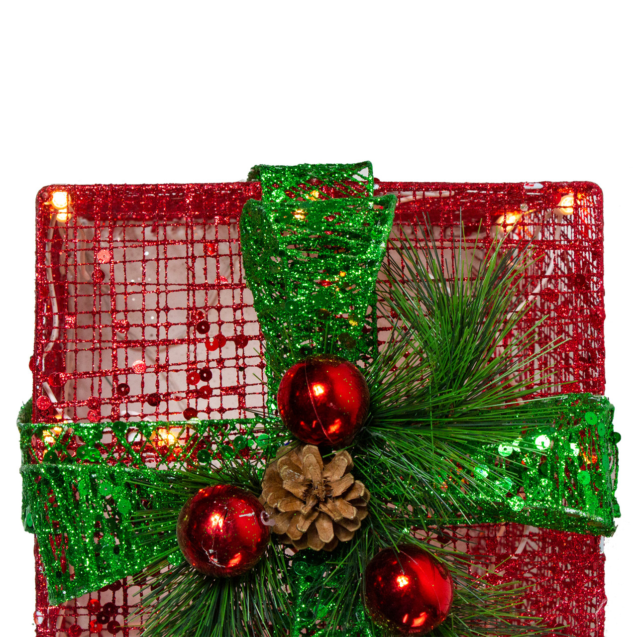 Set of 3 Lighted Red and Green Glitter Gift Box Christmas Outdoor Decorations 12""