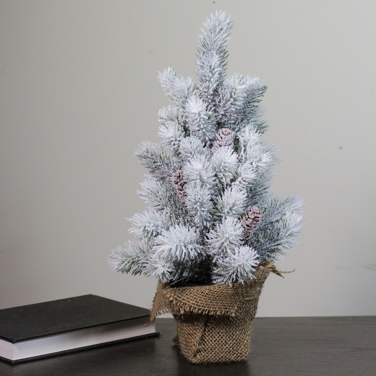 16 Flocked Green Pine Artificial Table Top Christmas Tree With