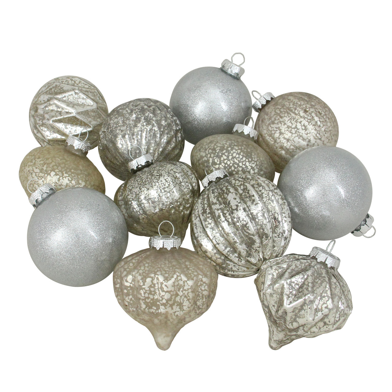 12ct Beige Silver 3 Finish Glass Christmas Ornaments 3 75 Christmas Central