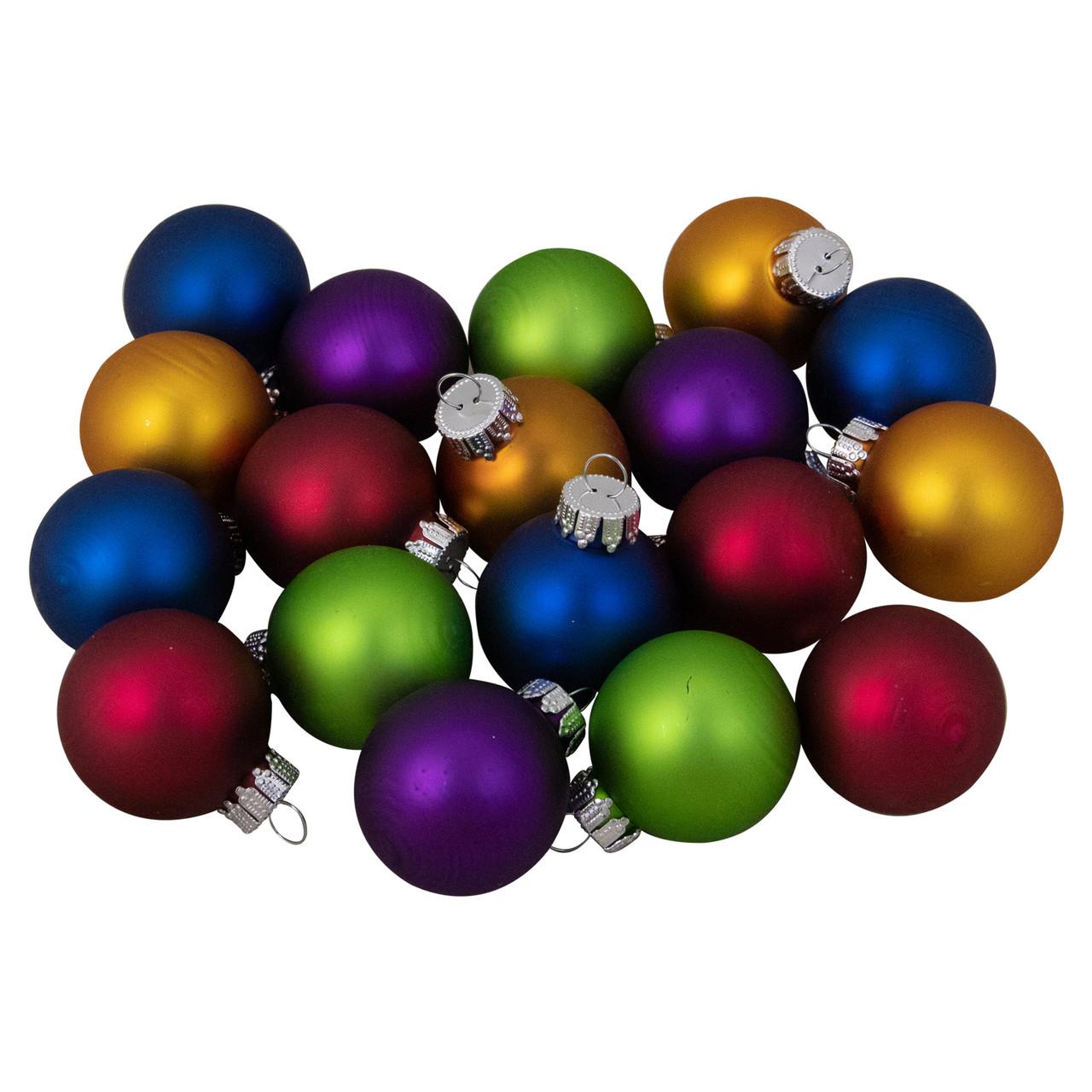 20 Piece Multi Color Vibrant Glass Ball Christmas Ornament Set 20.20