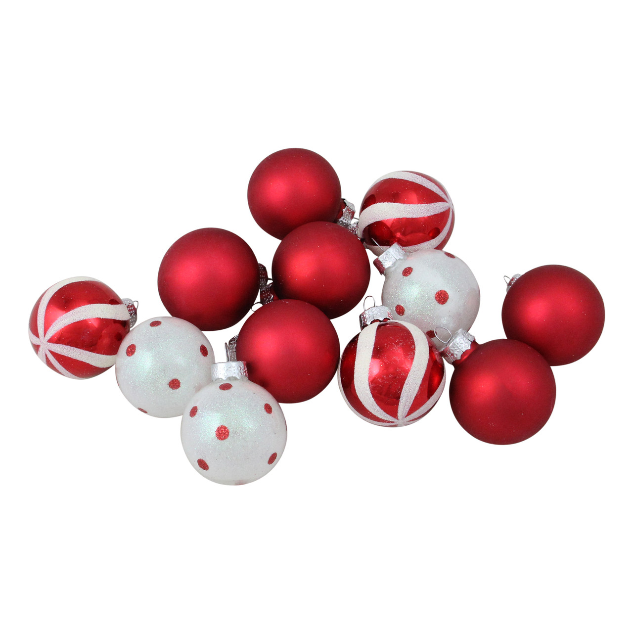 12ct Red White Glass 3 Finish Christmas Ball Ornaments 1 75 40mm Christmas Central