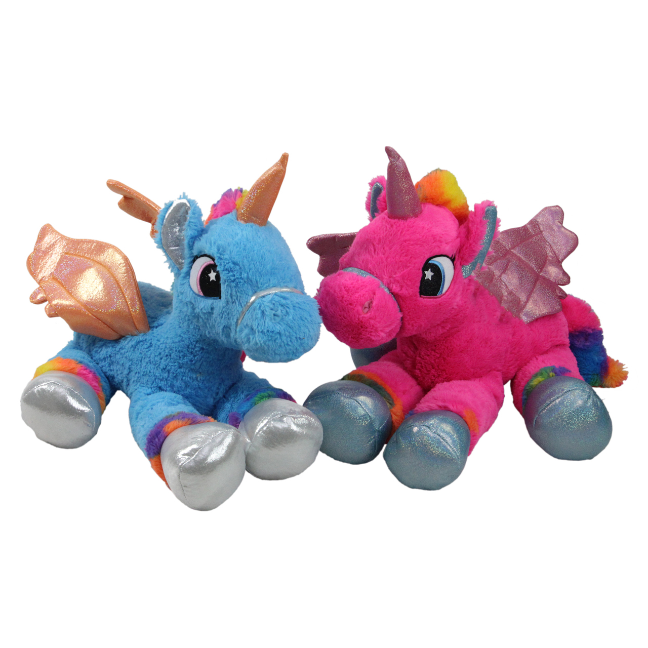 Set Of 2 Super Soft Plush Pink Blue Sitting Winged Unicorns