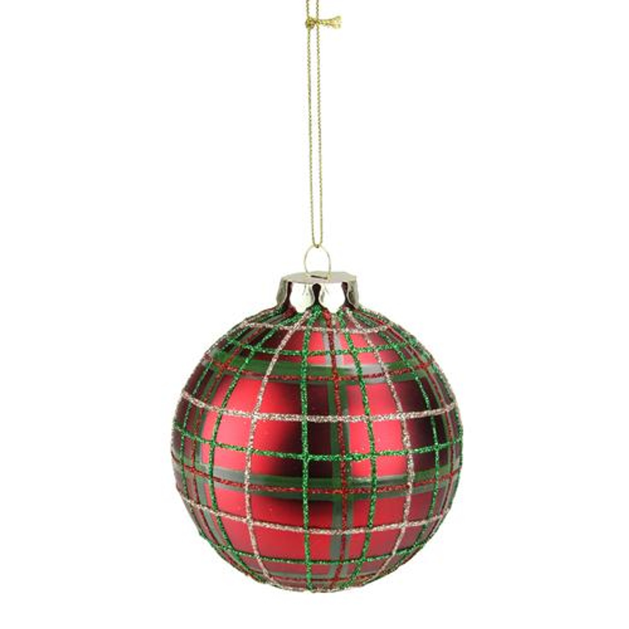 Set Of 2 Red Green Plaid Glass Ball Christmas Ornaments 325