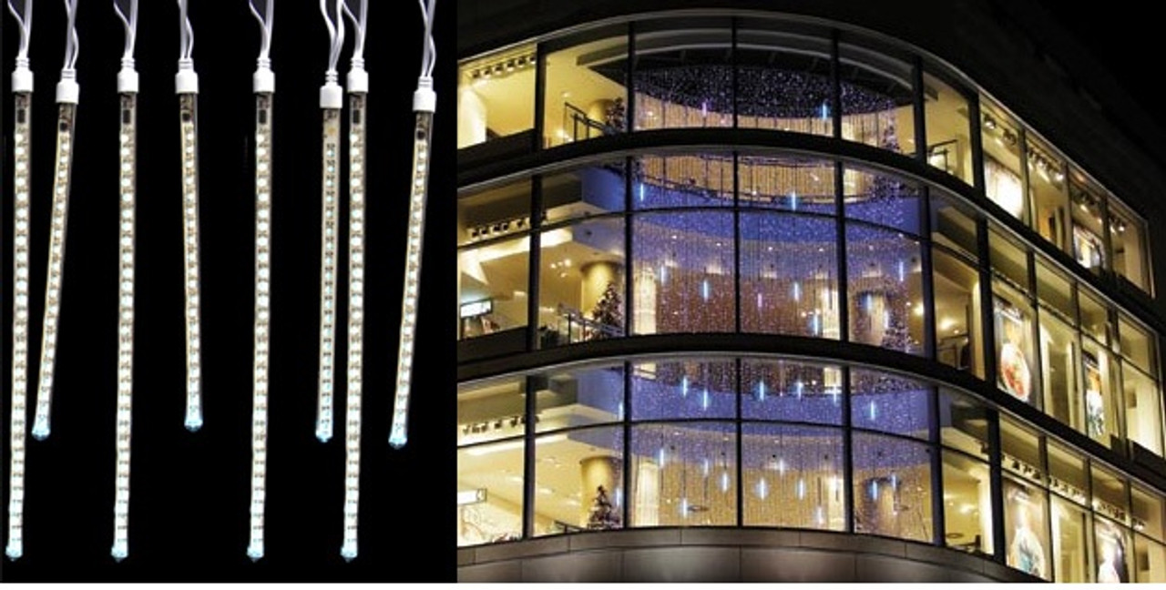 80 Pure White Led Dripping Icicle Tube Christmas Lights 10 5 Ft White Wire 30955618
