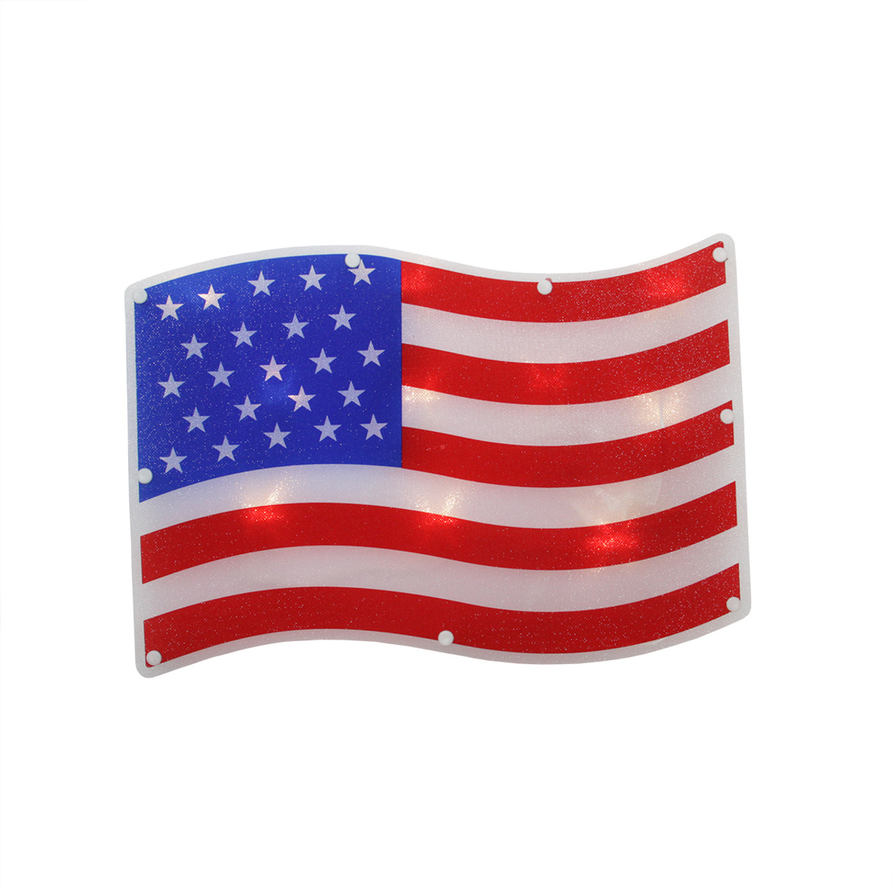 1325 Led Lighted Patriotic 4th Of July American Flag Window