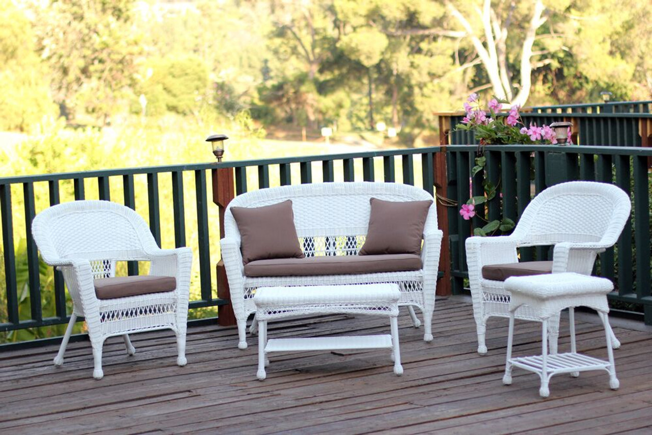 5 Piece Flynn White Wicker Patio Chair Loveseat Table Furniture