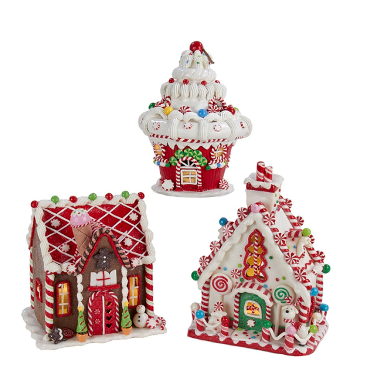 Set Of 3 Battery Operated Claydough Led Gingerbread House Tablepiece Decorations 8 31574341