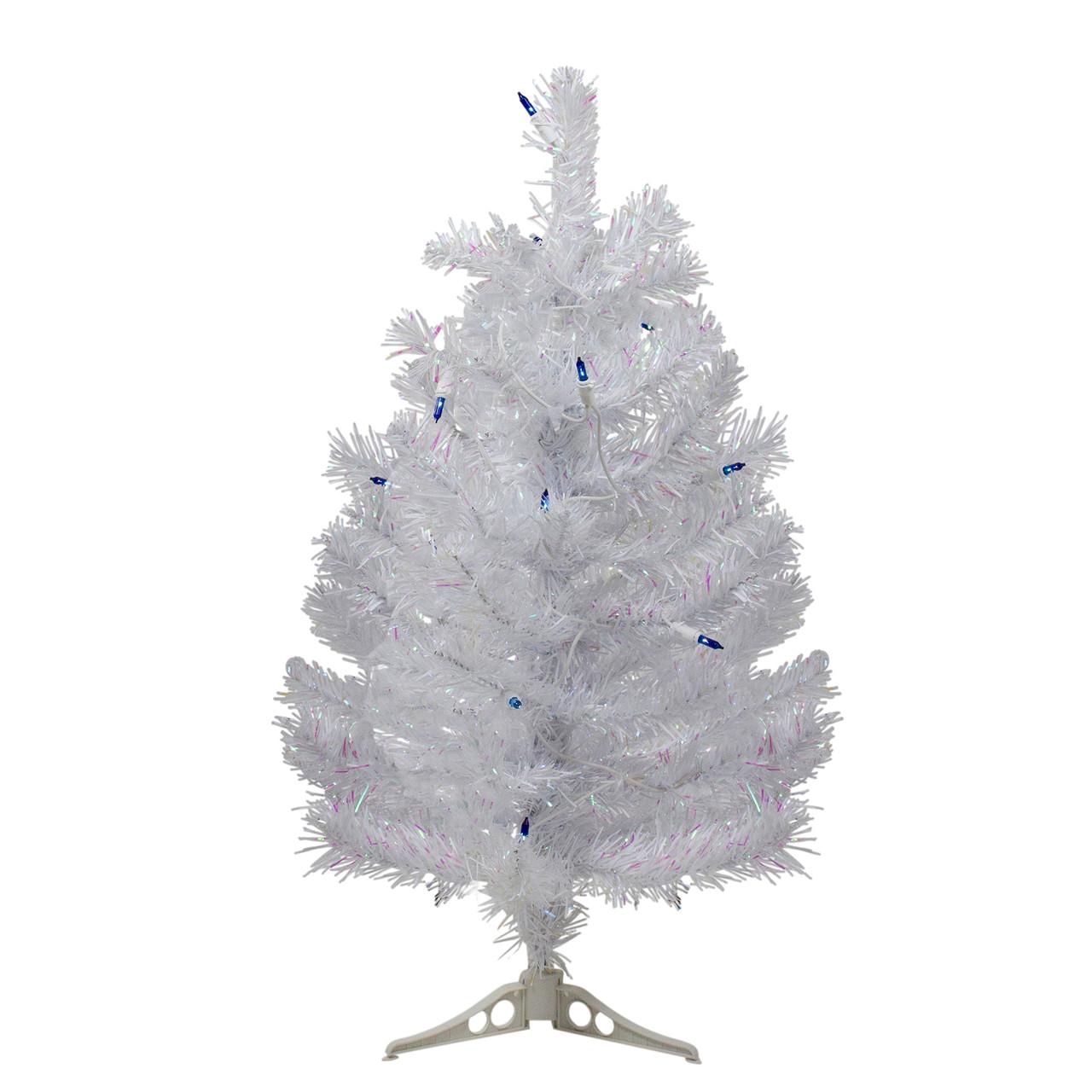 2 Pre Lit White Pine Artificial Christmas Tree Blue Lights Christmas Central