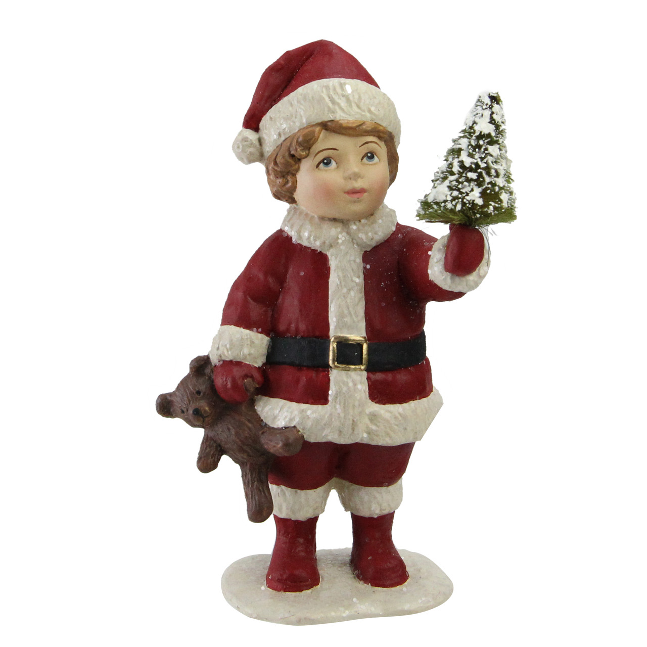 5 Santa S Little Helper Child With Mini Tree Christmas Figurine Decoration Christmas Central