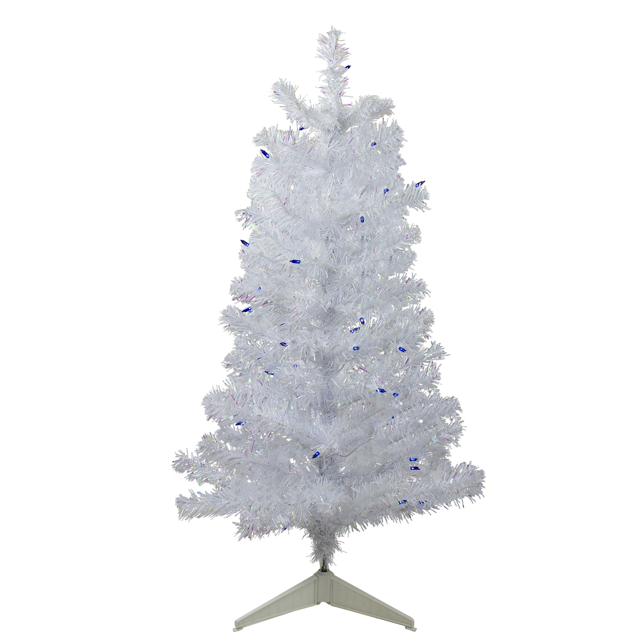 3 Pre Lit White Medium Pine Artificial Christmas Tree Blue Lights Christmas Central