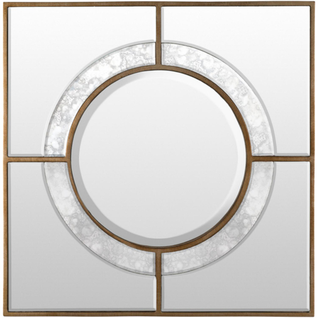 """3266f866a70f 24""""Antiqued Gold Square Framed Beveled Wall Mirror with Mercury ..."""