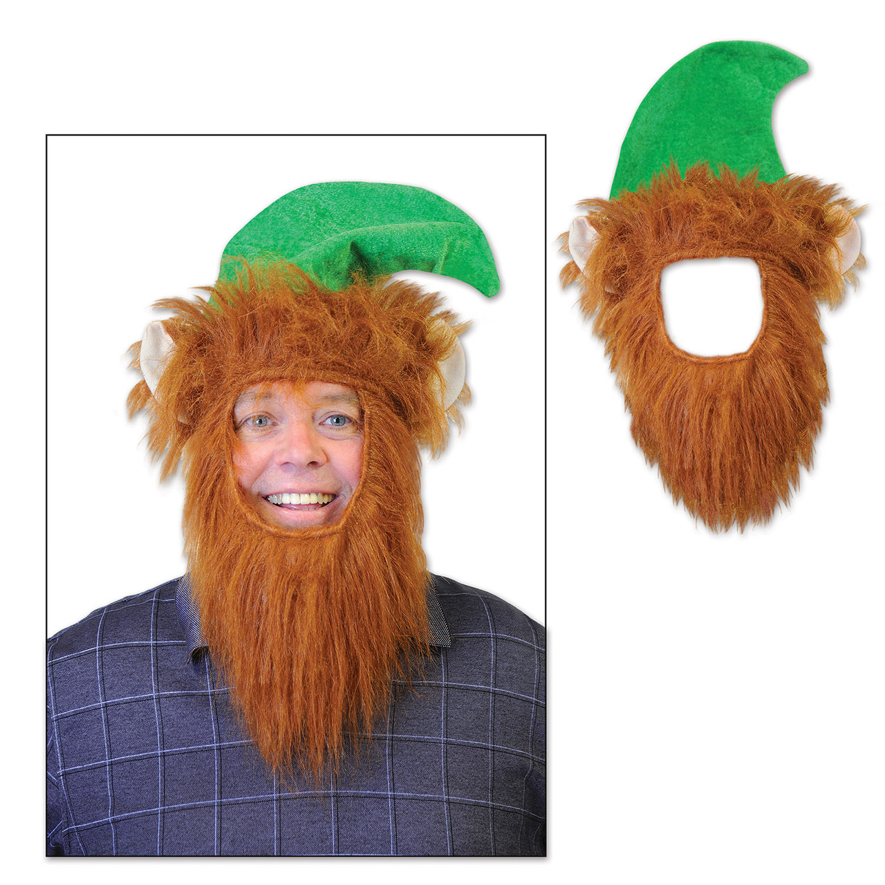 Pack Of 12 Green Hats With Fuzzy Beard Christmas Elf Costume Accessories 32729537