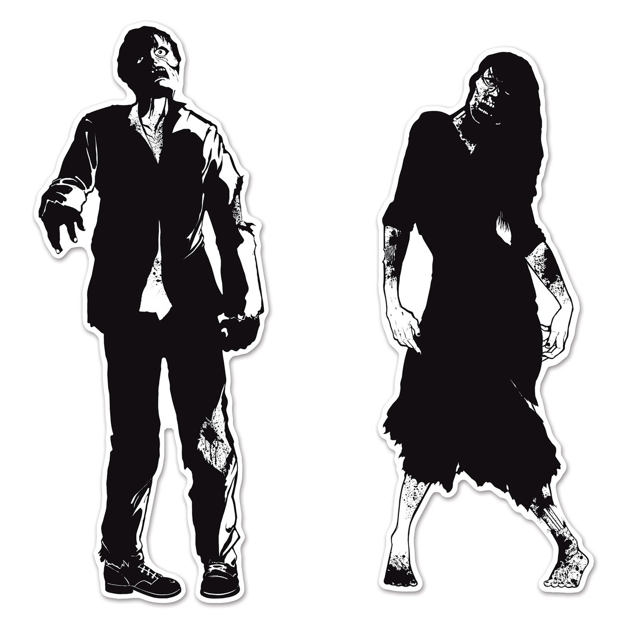 Pack Of 24 Black White Double Sided Eerie Zombie Silhouette