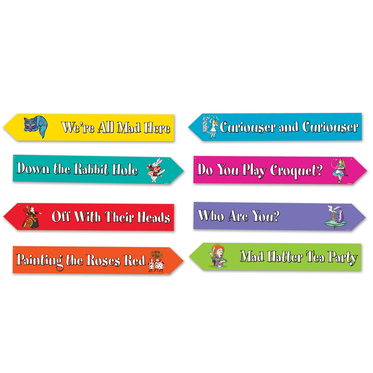 Pack Of 12 Alice In Wonderland Phrases Street Sign Cutouts Wall