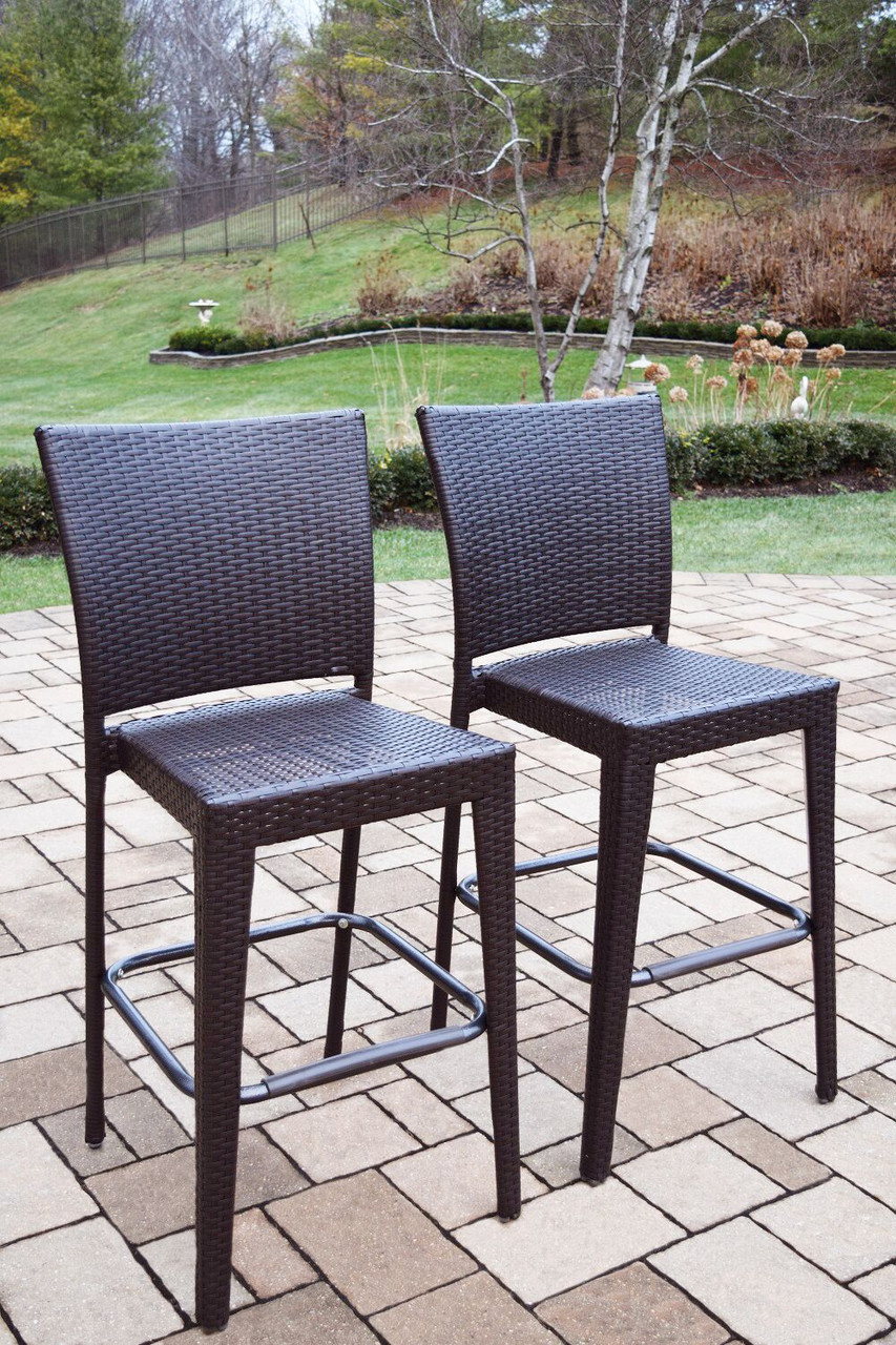 Pleasant Set Of 4 Coffee Brown Elite All Weather Resin Wicker Outdoor Patio Bar Stools 32734220 Spiritservingveterans Wood Chair Design Ideas Spiritservingveteransorg