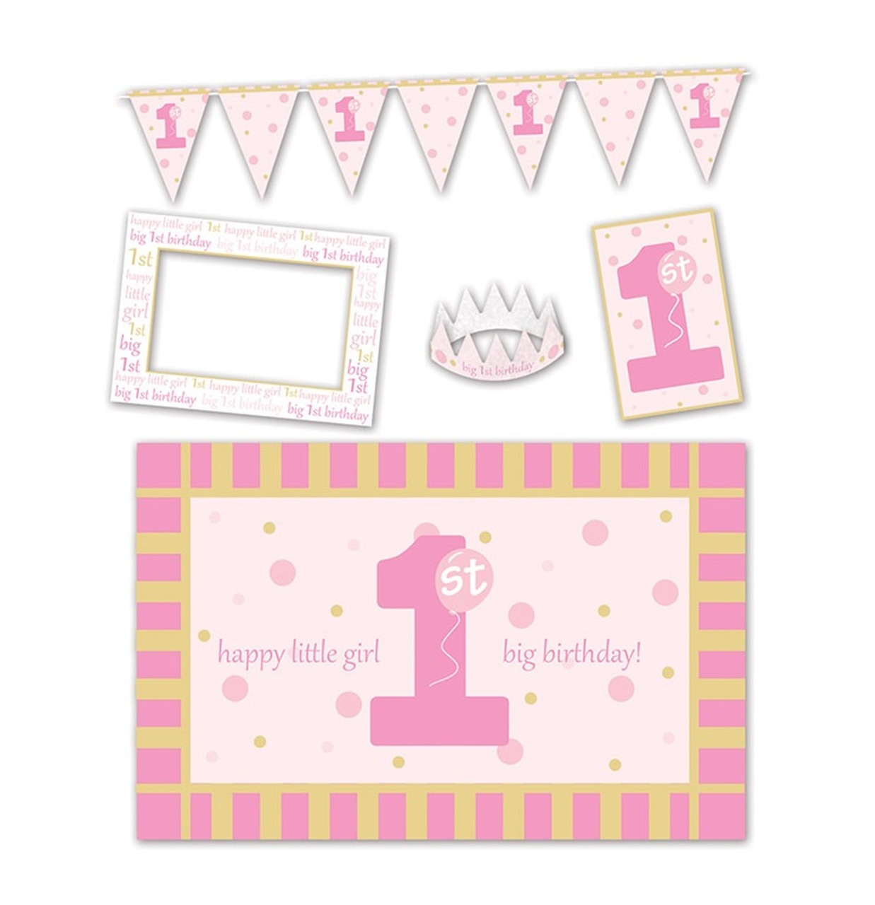 Club Pack Of 30 Baby Girls First Birthday High Chair Decorating Kit