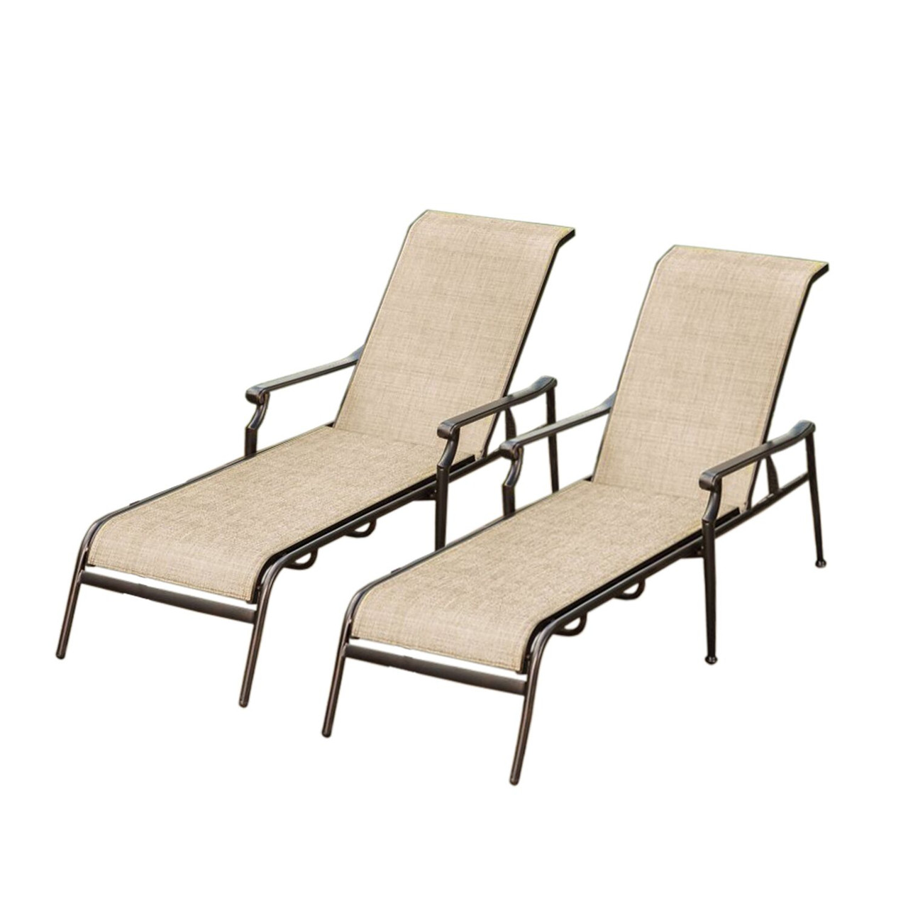 Set Of 2 Beige Brown Outdoor Aluminum Reclining Patio Chaise