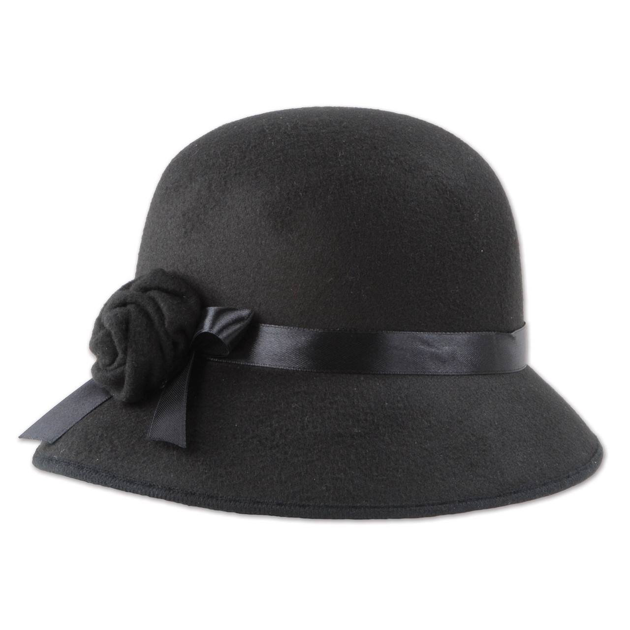 Pack of 6 Roaring 20 s Black Felt Cloche Hat with Satin Ribbon ... 8a998886621