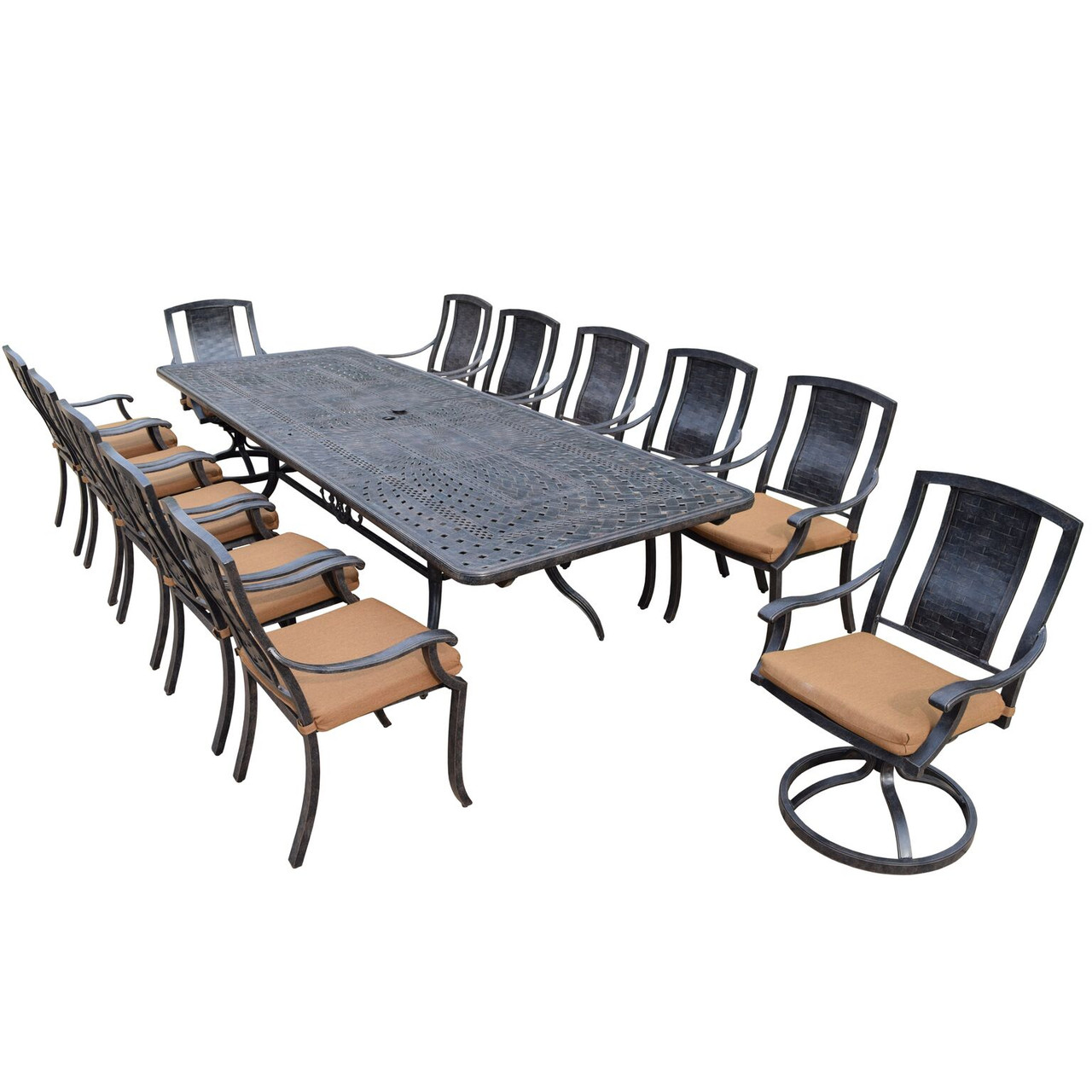 13 Piece Aged Black Finish Aluminum Outdoor Furniture Patio Dining