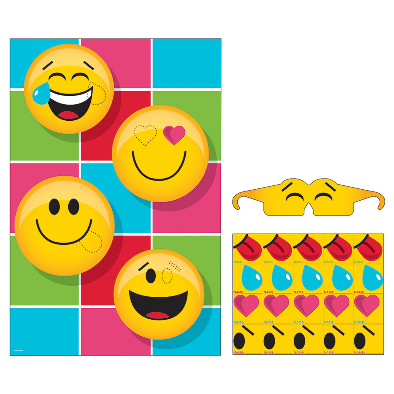 Pack Of 6 Yellow Black Show Your Emoji Themed Pin Game 1075