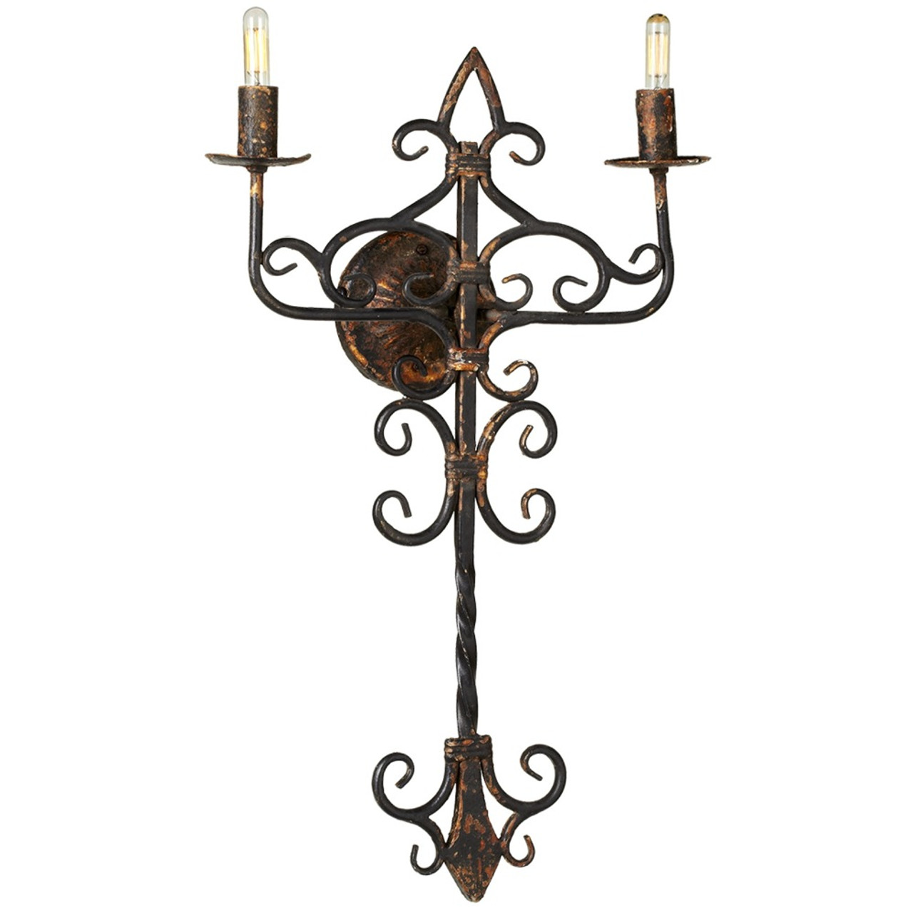 Fine Set Of 2 Distressed Black Gold Hard Wire 2 Light Wall Sconce 27 Wiring Digital Resources Antuskbiperorg