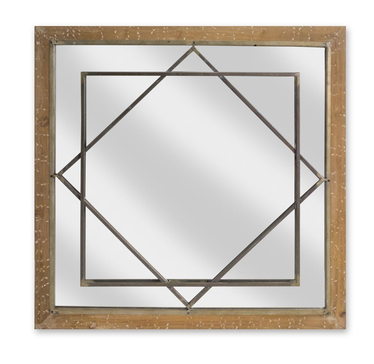25 Contemporary Square Wooden With Metal Detail Decorative Wall Mirror 32781582