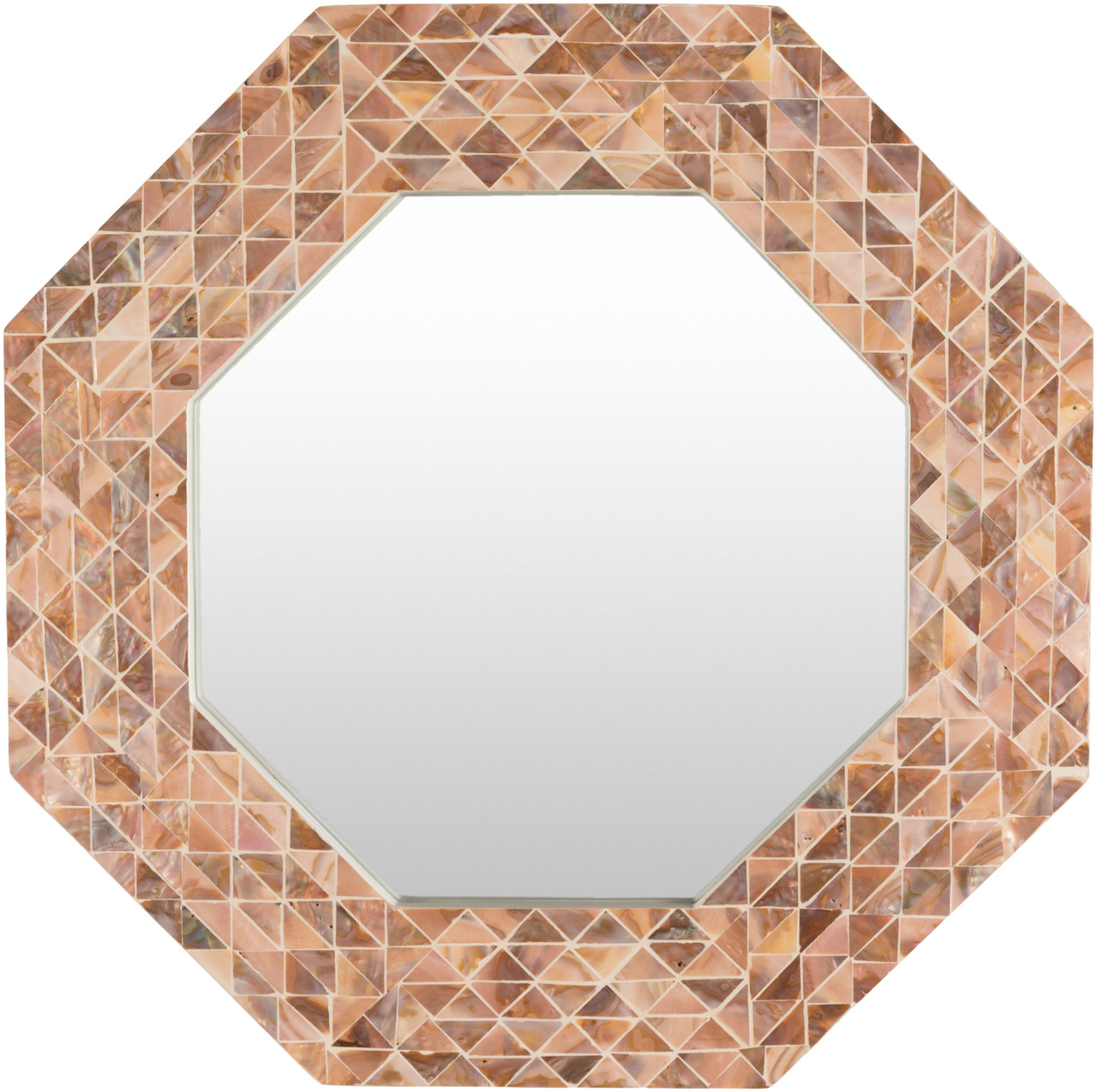 21 7 Copper Octagon Shaped Mosaic Inlaid Decorative Wall Mirror