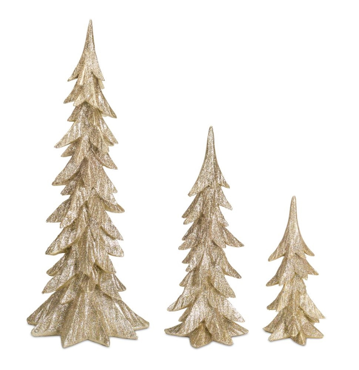 """Set of 3 Glittering Gold and White Christmas Trees Table Top Decoration 25 5"""""""