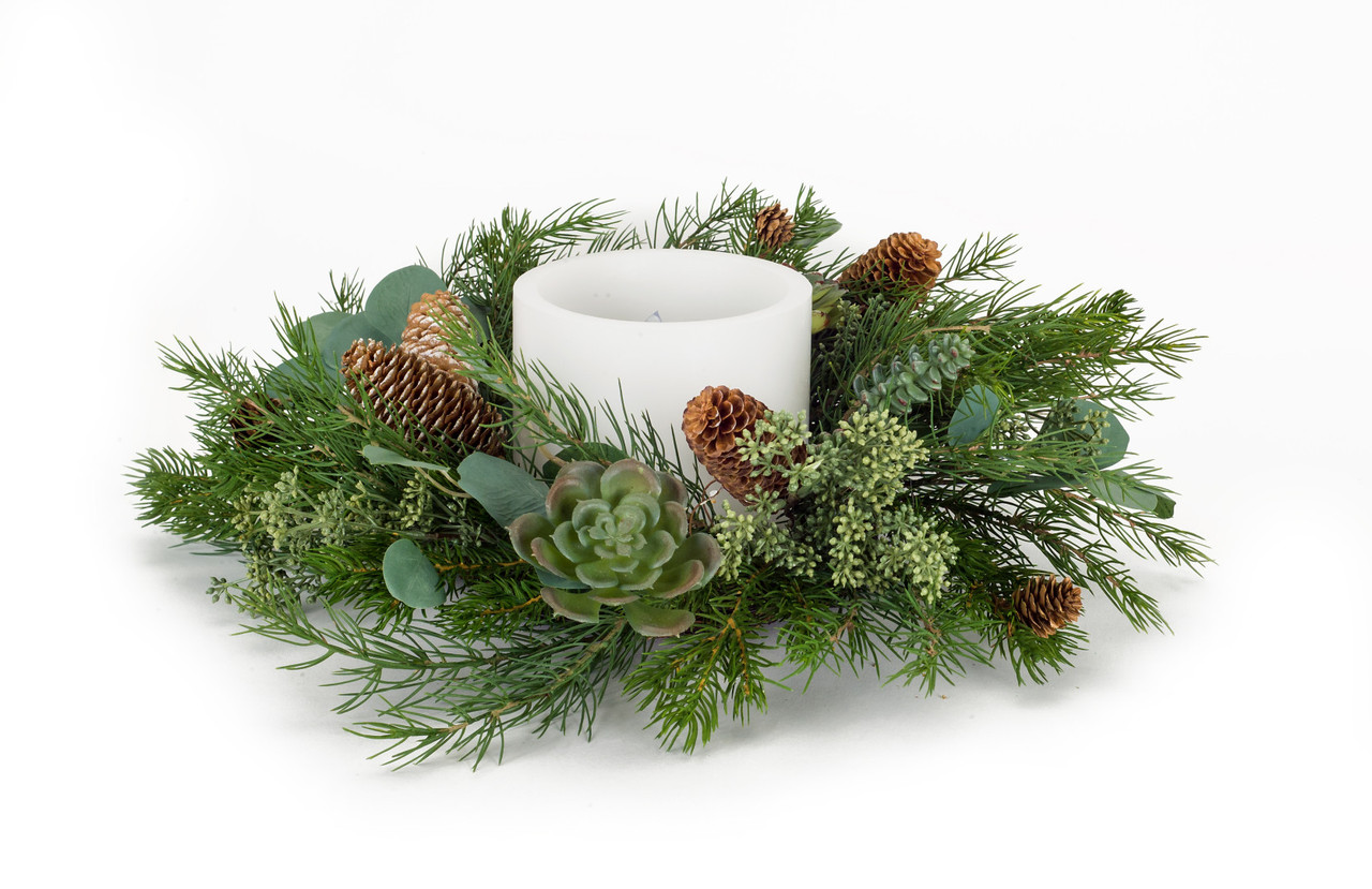Set Of 2 Green Brown Artificial Pine Succulent Eucalyptus Candle Ring 22 Christmas Central